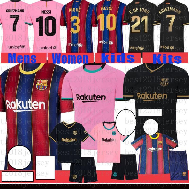 Fussball Jersey Barcelona Fußball-Hemd # 10 Messi Maillot de Foot # 8 A. Insta Männer # 17 Griezmann Kinder Kits # 21 F. de Jong 31 Ansu Fati