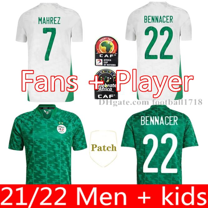 2021 알제리 Mahrez 홈 축구 유니폼 20 21 알제리 두 별 Feghouli Bennacer 축구 셔츠 Maillot de Boot 유니폼