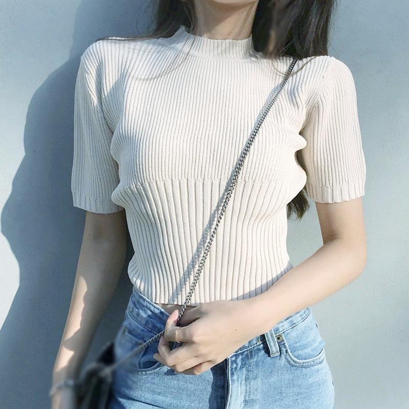 Jlong Estate T-shirt a maglia Donne Casual Slim manica corta Camicie Coreane Sexy Tops T-shirt da donna