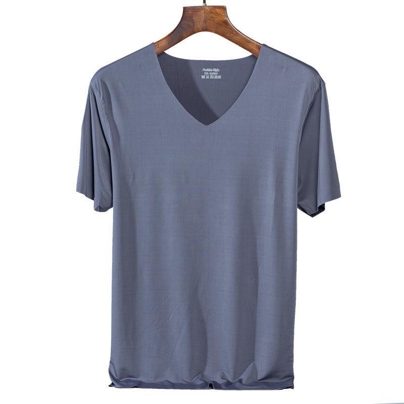 얼음 실크 원활한 짧은 소매 티셔츠 남성 여름 빠른 건조 슬립 V 목 반팔 느슨한 캐주얼 망 스포츠 탑