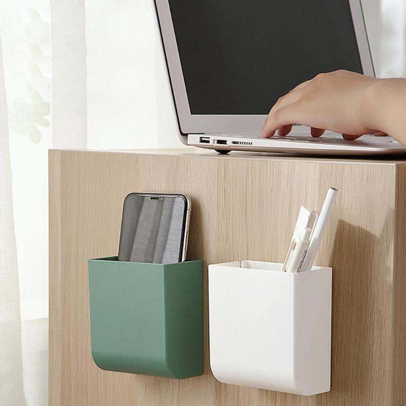 1 pc suporte de parede colar controle remoto saco de lixo caixa de armazenamento de telefone celular cremalheira de carregamento banheiro cosméticos organizador organizador monta montagens hol