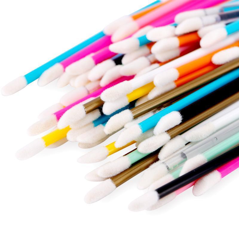 Pinceaux de maquillage 50 pcs / lot jetable brosse à lèvres lèvres lipstick wands wands applicateur applicateur