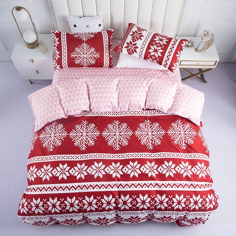 Conjuntos de cama de natal floco de neve impresso conjunto decoração decoração capa cama folha fronha rainha tamanho grande tamanho