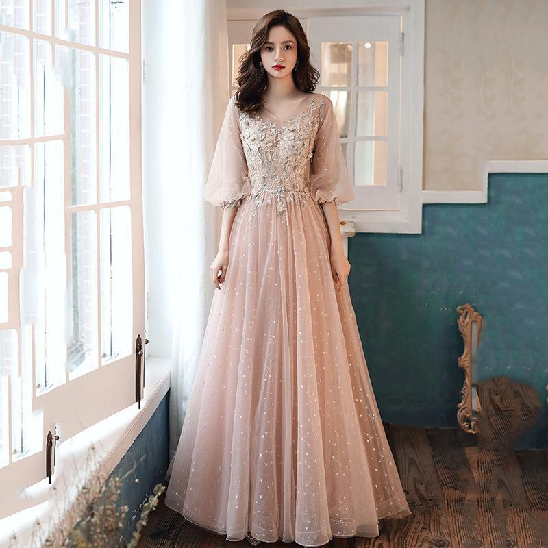 Elegant V-Neck Lace Up Ball Gown Prom Dress Appliques Tulle Long Evening Party Gowns Vestido De Festa Ethnic Clothing