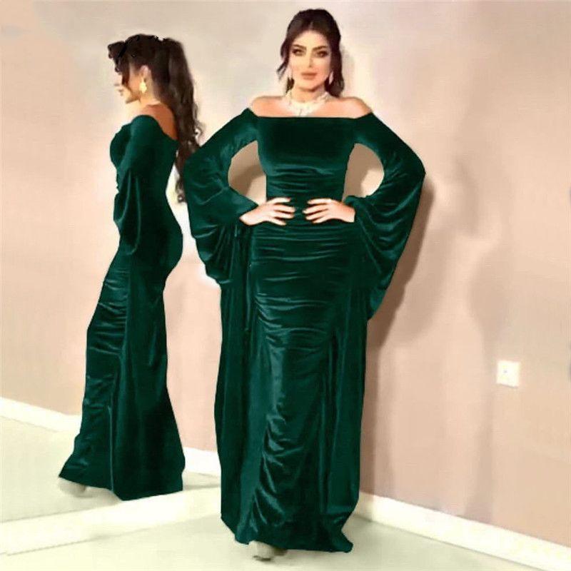 Elegant Arabic Style Evening Dress Unique Design Long Sleeve Off The Shoulder Velvet Prom Gown for Formal Occasions Custom Made