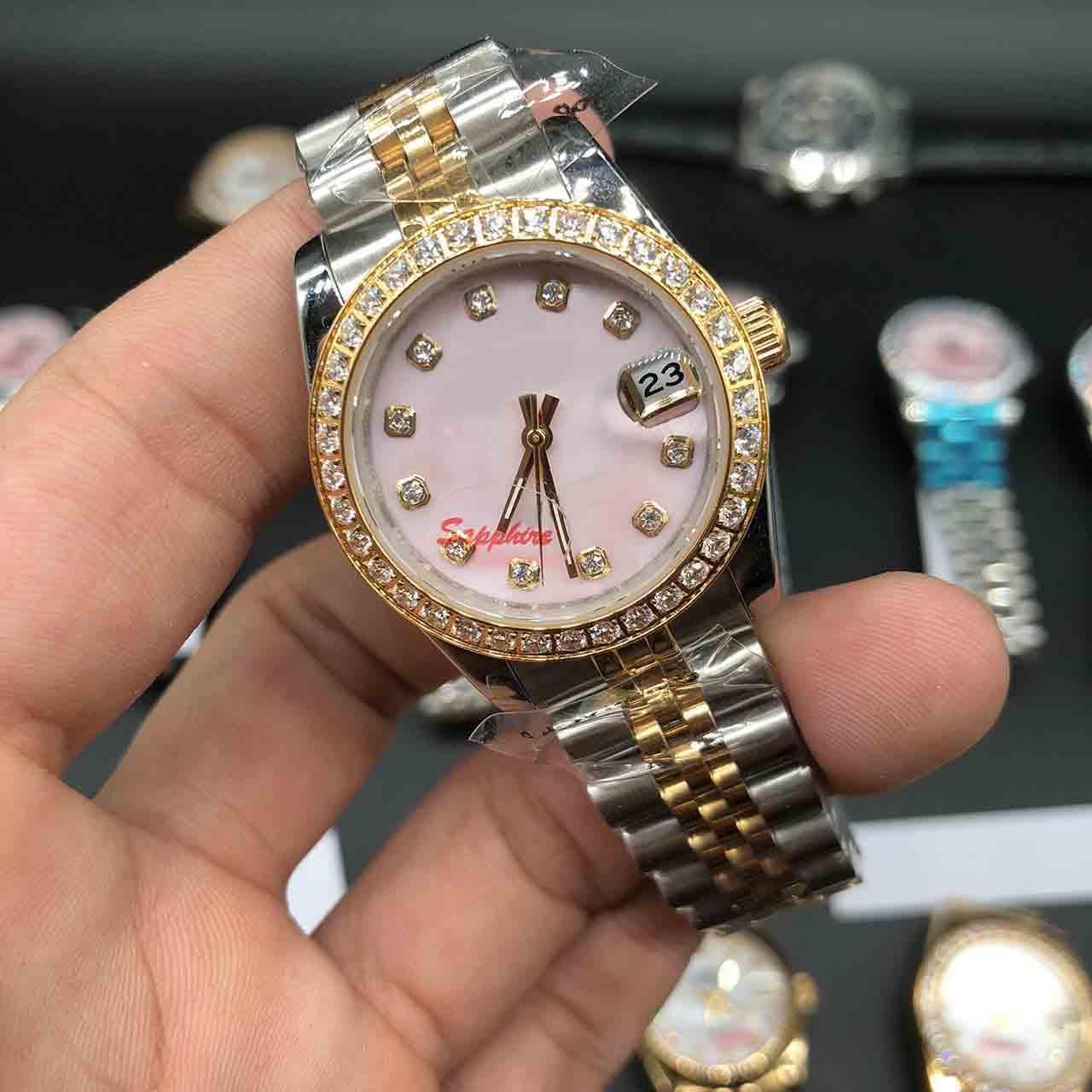 Mehrere Farbe Damenuhr Präsident Diamant Lünette Muschelgesicht Frauen Edelsteine Uhren Niedrigsten Preis Damen Automatische mechanische Handgelenkgeschenk 31mm