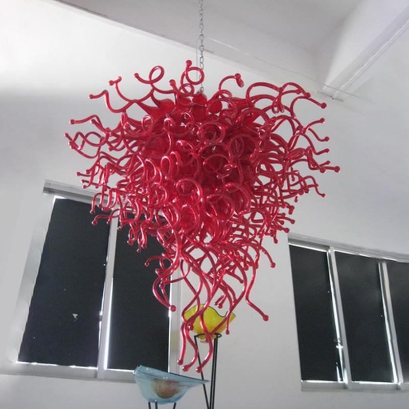샹들리에 램프 현대 화려한 루비 레드 홈 인테리어 핸드 블로운 유리 샹들리에 24 x 36 인치 LED 펜던트 조명