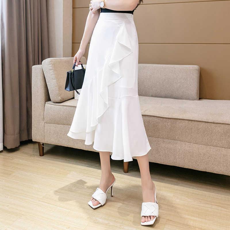 Damenmode Rüsche Lange Röcke Casual High Taille Damen Solide Midi Skrit mit unregelmäßigen Rüschen Streetwear Sommerrock 210603