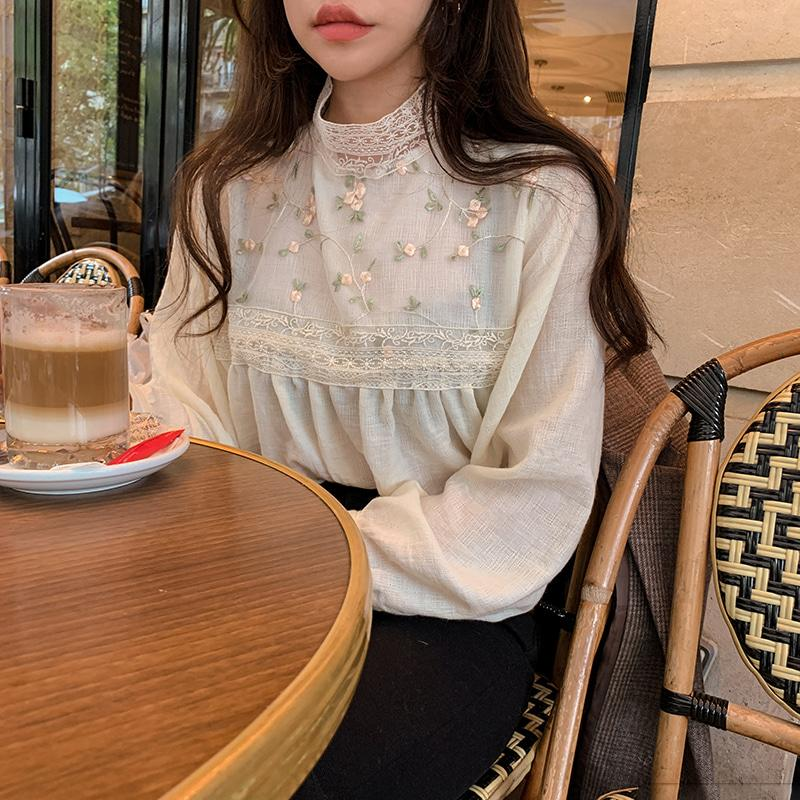 Elegant Lace Blouse Shirt Stand Collar Sexy Hollow Out Floral Embroidery Feminine Blouses Women Long Sleeve Tops