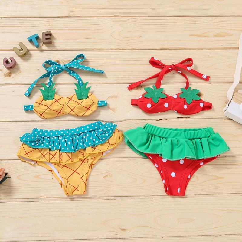 Sommer Baby Mädchen Erdbeer Badeanzug Mädchen Ananas Bikini Sling Swimwear Kinder Kinder Rüschen Shorts Badeanzug Ein-Teilen