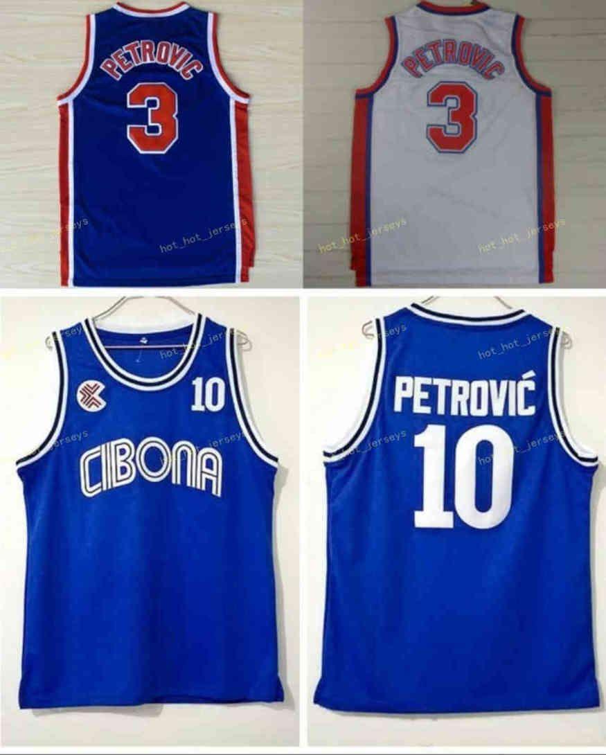 Vintage Drazen 3 Jerseys Petrovic Cibona Zagreb Colégio Basquete De Basquete Drazen 10 Petrovic Jersey Blue Sport Shirt Costurado