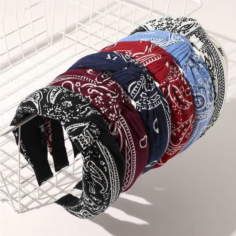 Mulheres Headband Top Knot Turbante Hairbands Impressão Vintage Torção Cruz Headwrap Bezel Hoop Meninas Acessórios Headwear Y0723