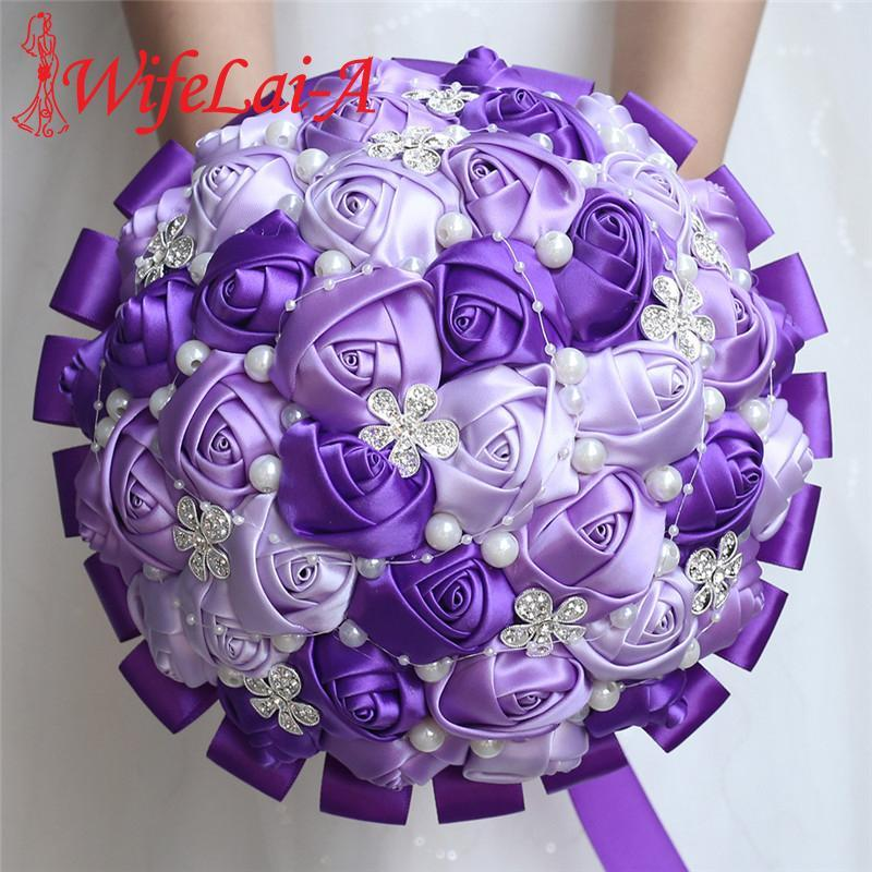 Wedding Flowers WifeLai-A Crystal Brooch Bouquet Artificial Pearls Stain Rose Bridal Bridesmaid Holding W224-1