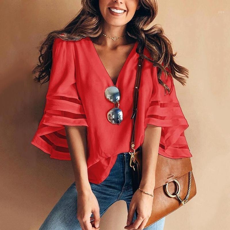 Camicia da donna in chiffon a strisce con scollo a V Summer Summer Summer Summer Summer Top Plus 3.
