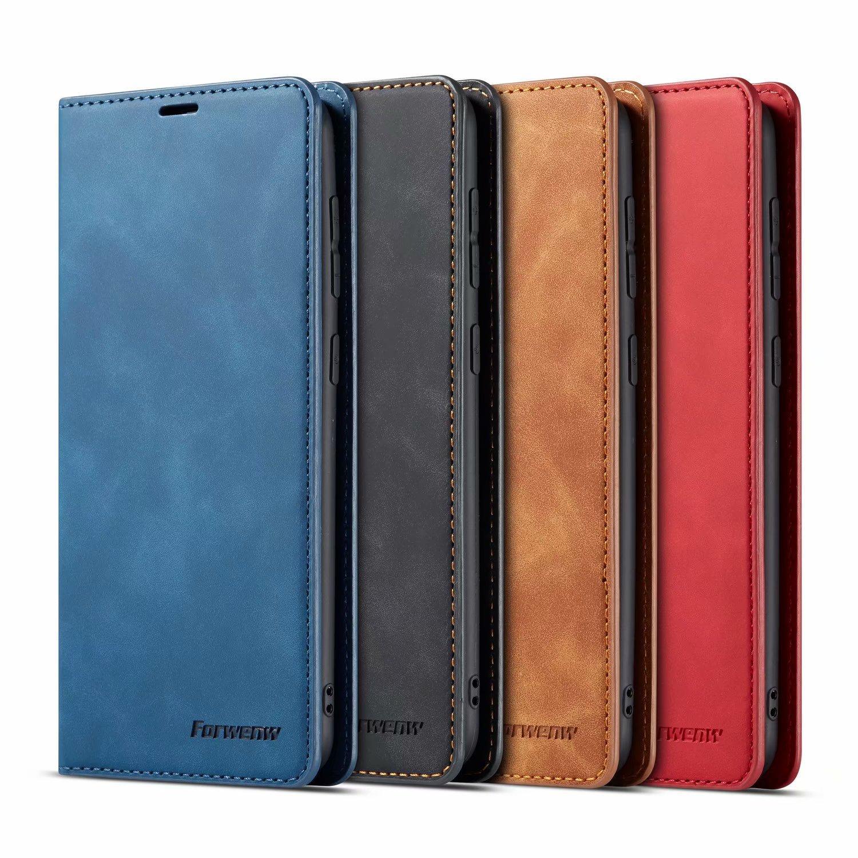 Forwenw Wallet 케이스 가죽 범퍼 카드 슬롯 플립 자석 덮개 아이폰 12 11 Pro Max XR XS Samsung S20 Huawei P40 P30