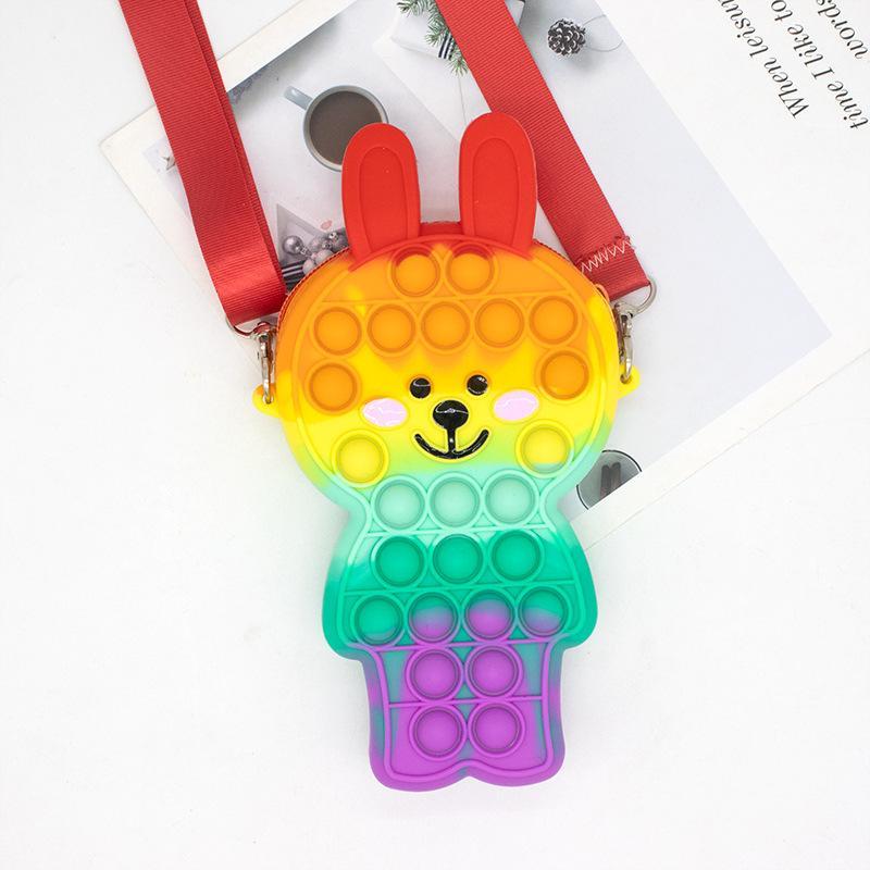 Fidget Toy Silicone Push Bubble Little bear Diagonal backpack Adjustable Storage bag Anti Stress Decompression Toy GWD10451