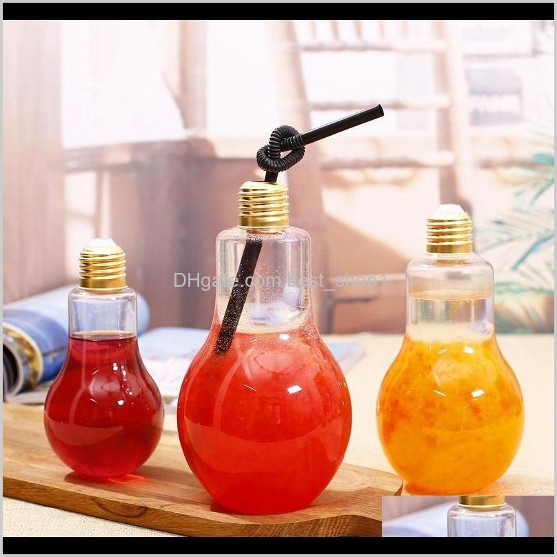 Botellas Cocina Comedor Bar Home Garden Drop Entrega 2021 LED Bombilla de luz Leche de plástico Jugo Botella de agua Botella de agua Desechable Taza de bebidas a prueba de fugas con
