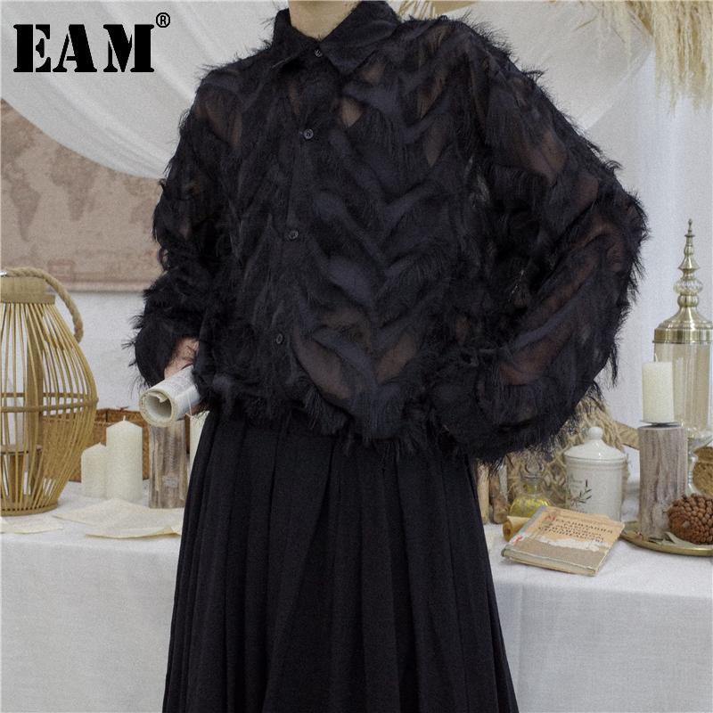 [EAM] 2021 Yeni Bahar Yaz Saydam Tüy Standı Yaka Tam Kollu Gevşek Püsküller Düğme Gömlek Kadın Moda Gelgit OB396
