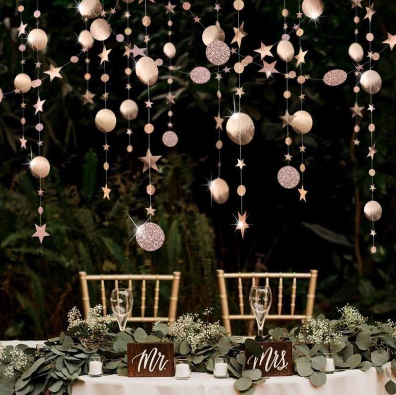 Wedding Decoration Silver Golden Star Round Garland 4m Flash Mirror Paper Banner Curtain for Birthday Baby Shower Party Decor