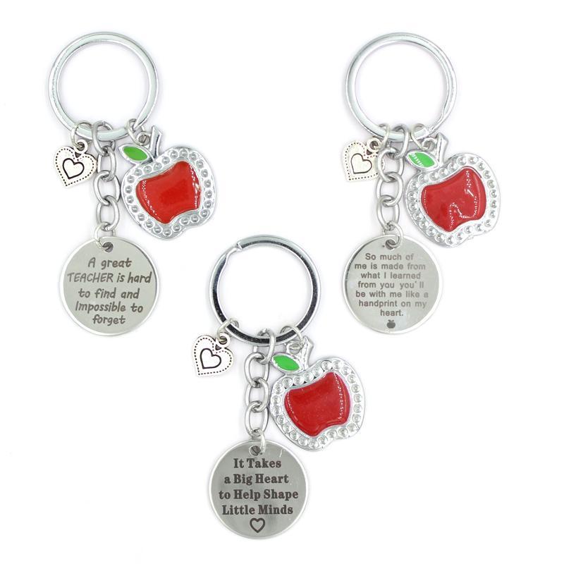 Оптовая торговля ключ из нержавеющей стали красный яблоко сердца подвески брелок учитель подарки украшения для женщин мужчин девушки дамы