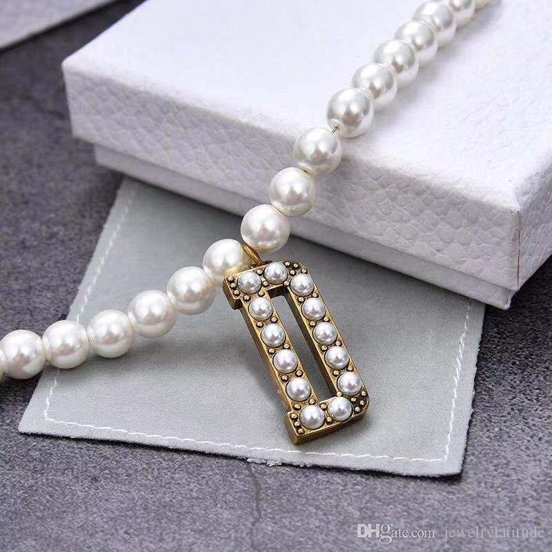 Designer di lusso Gioielli Donne Collana Collana perla lettera D Collana pendente Orecchini bracciali Bracciali con timbro moda personalità Ragazza regalo