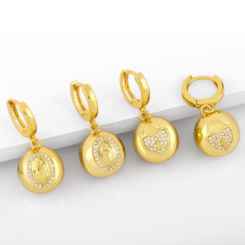 디자이너 한국 라운드 공 2021 새로운 패션 귀 버튼, 귀걸이, 복숭아 심장 및 코끼리 귀걸이, 여성 ERW03
