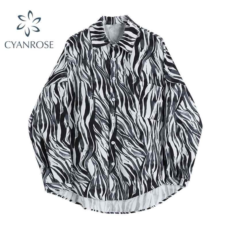 Coppia camicetta e camicie per signore manica lunga singolo Blusas Blusas cardigan High Street Fashion Oversize Relax BF Top 210515