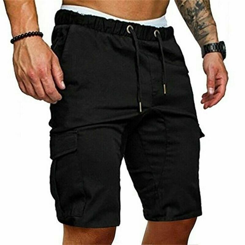 Pantalones cortos de carga de verano pantalones pantalones de color sólido Casual con bolsillos cintura elástica playa deporte masculino pantalones cortos 210729
