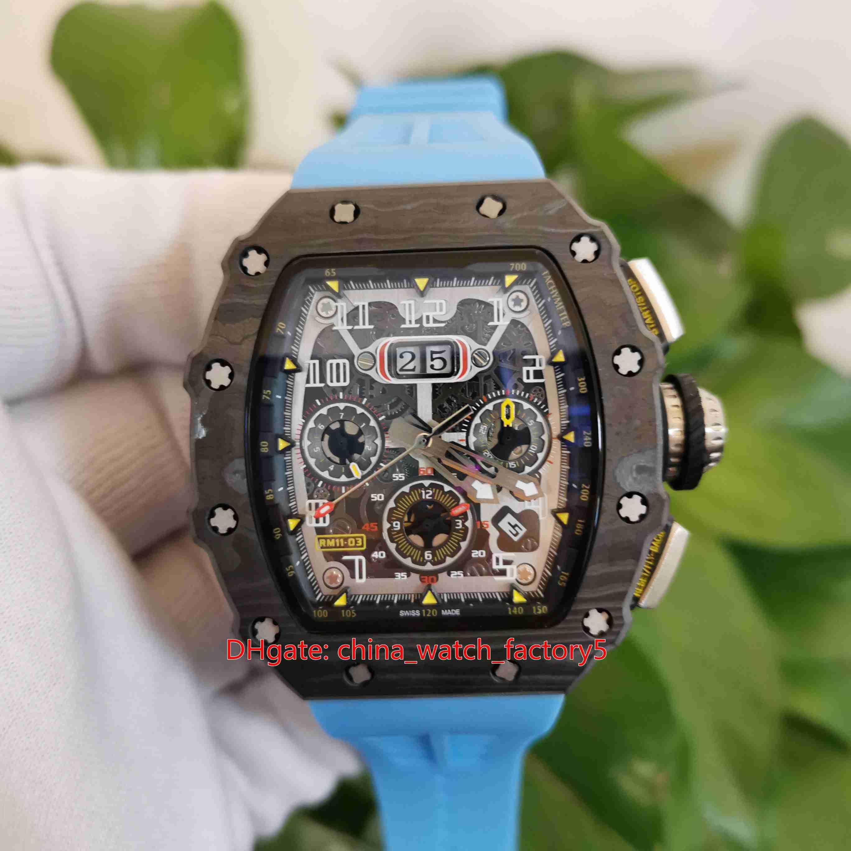 Klasik En Kaliteli Saatler 50mm x 44mm RM11-03 RM 11 NTPT Karbon Fiber Mavi Kauçuk Bantları Şeffaf Mekanik Otomatik Erkek erkek Izle Saatı