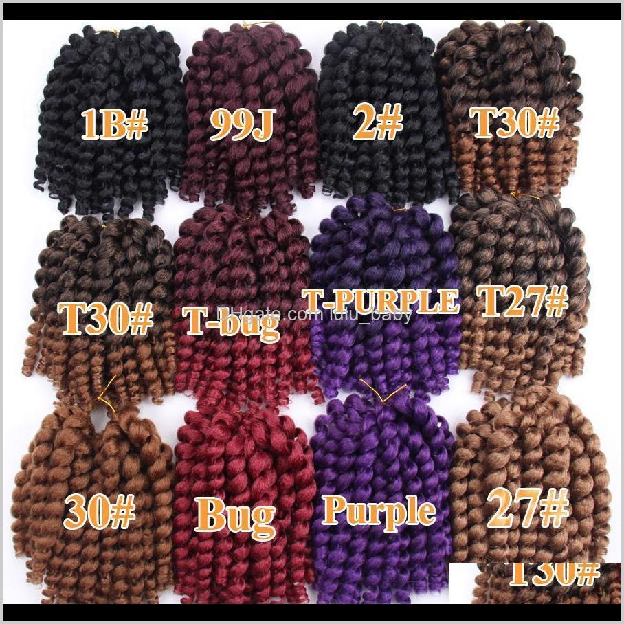 Perücken Jamaikaner Bounce Twist Braids Zauberstab Curl Flechten 10 Zoll 20Strandspack Häkeln Synthetische Haare O55V1 GD2LD