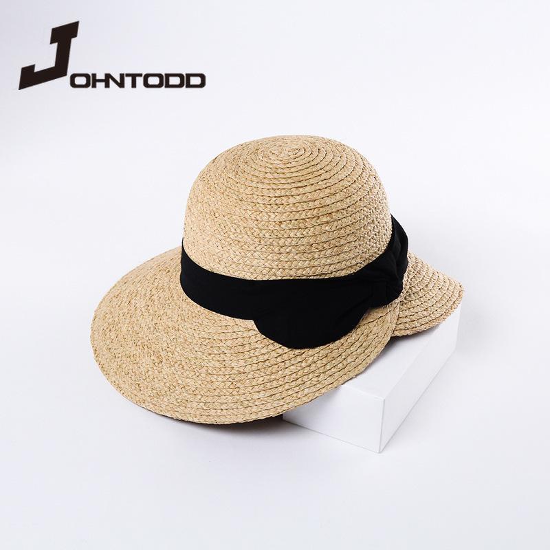 여름 여성 태양 모자 라피아 잔디 짚 접이식 넓은 마른 양동이 리본 나비 레이디 비치 돔 모자 모자