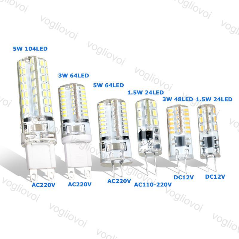 Lampadine a LED luce di mais G9 G4 1.5W 3W DC12V AC220V SMD3014 Lampade al silicone per pendente in cristallo a lampadario EUB