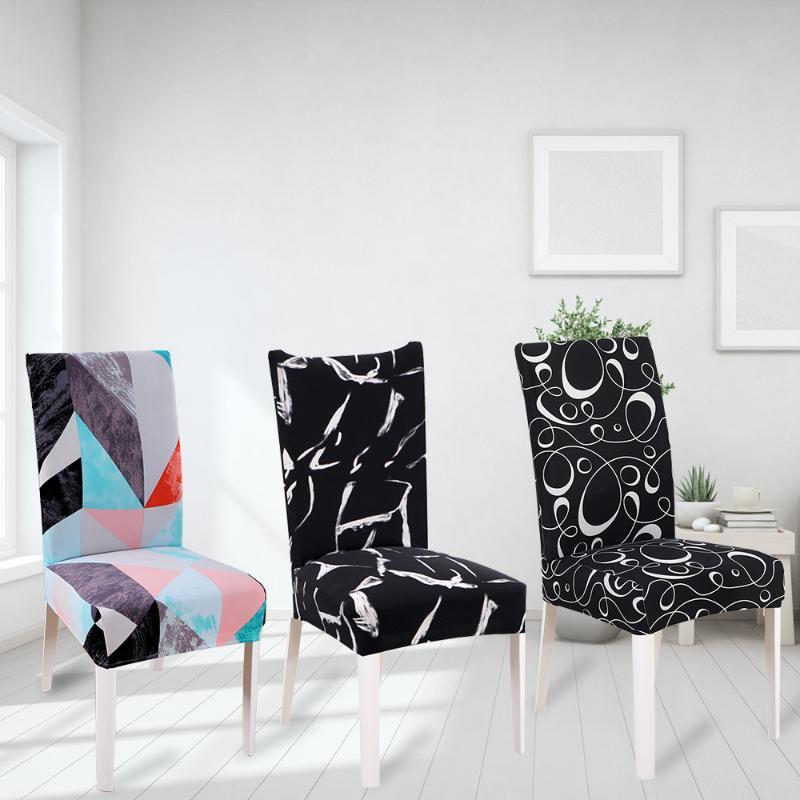 Cubiertas de la silla Protector Asiento de asiento Decoración de la decoración con espalda Spandex Elástico Cubierta elástica para la cocina El salón