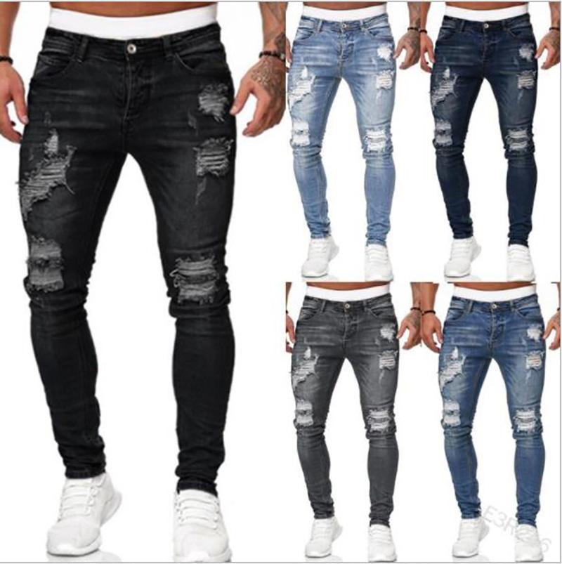 Men's Jeans Mens Casual Skinny Slim Fit Pencil Pants Fashion Biker Hip Hop Hi-Street Mens Distressed Denim Joggers Zippers European Style