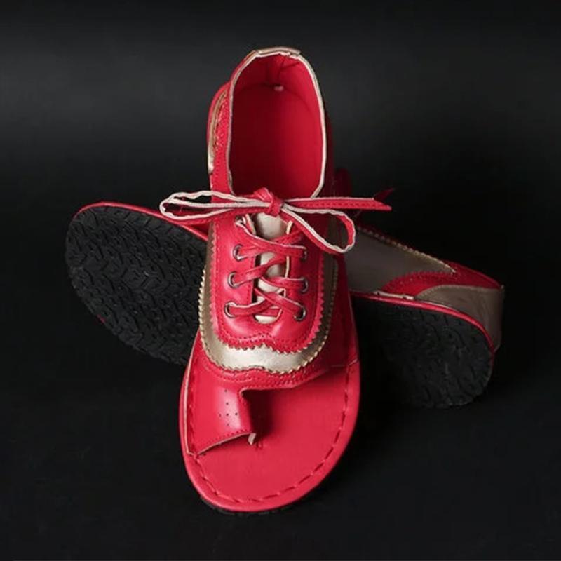 Women's Flat Sandals Lace Up Sewing Clip Toe Female Thong Shoes Pu Leather Ladies Sandalias Fashion Plus Size