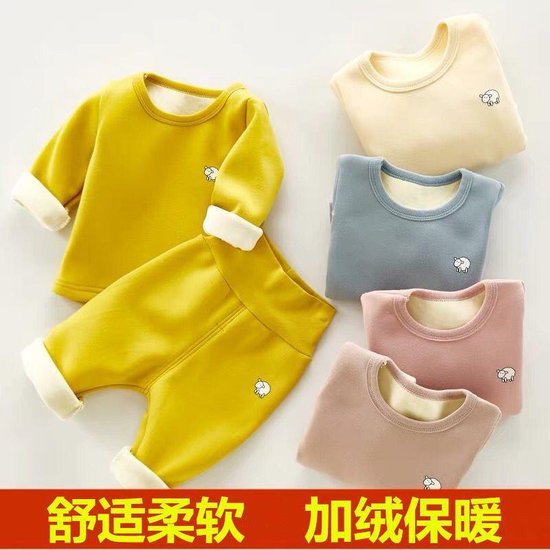 Çocuğun sonbahar ve kış giysileri artı kadife kalınlaşma bebek çocuk termal iç çamaşırı seti külot