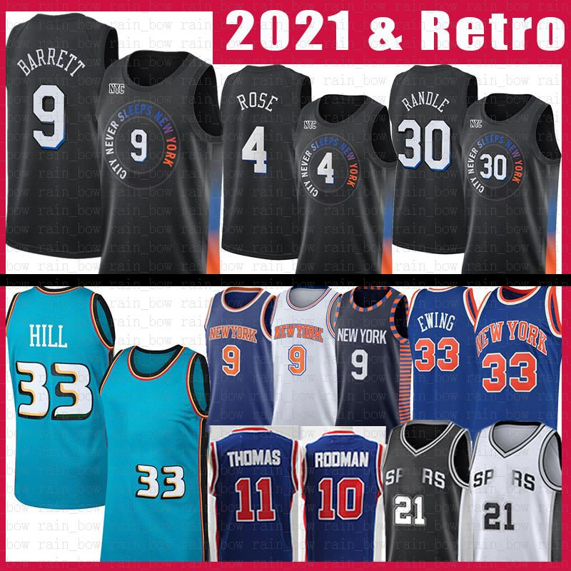 New San Antonio Spurs York Detroit Pistons Knicks RJ 9 Barrett Julius 30 Randle Derrick 4 Rose Patrick 33 Ewing Retro 21 Basketball Jersey Isiah 11 Thomas Dennis 10 Rodman Grant