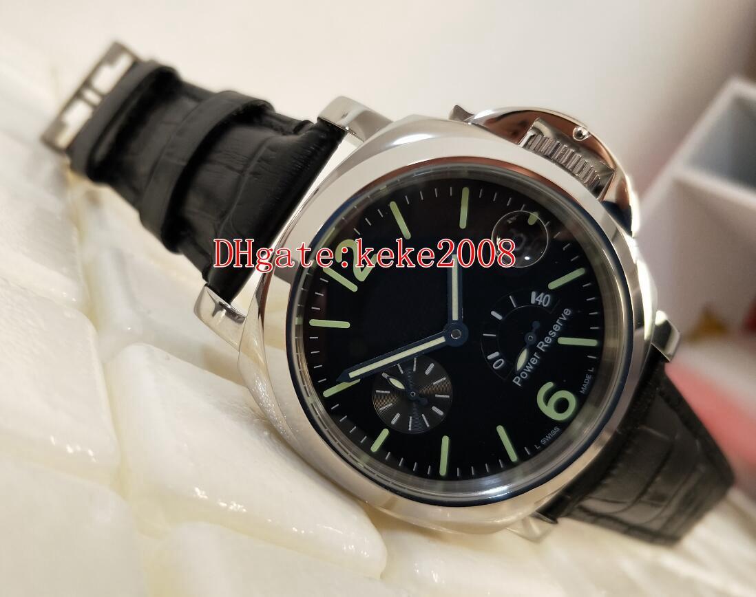 Moda Yüksek Kalite Saatı 44mm Güç Rezervi Siyah Kadran Lüminesans 316L Paslanmaz Çelik Deri Bantları Kayış Mekanik Otomatik Erkek İzle Saatler
