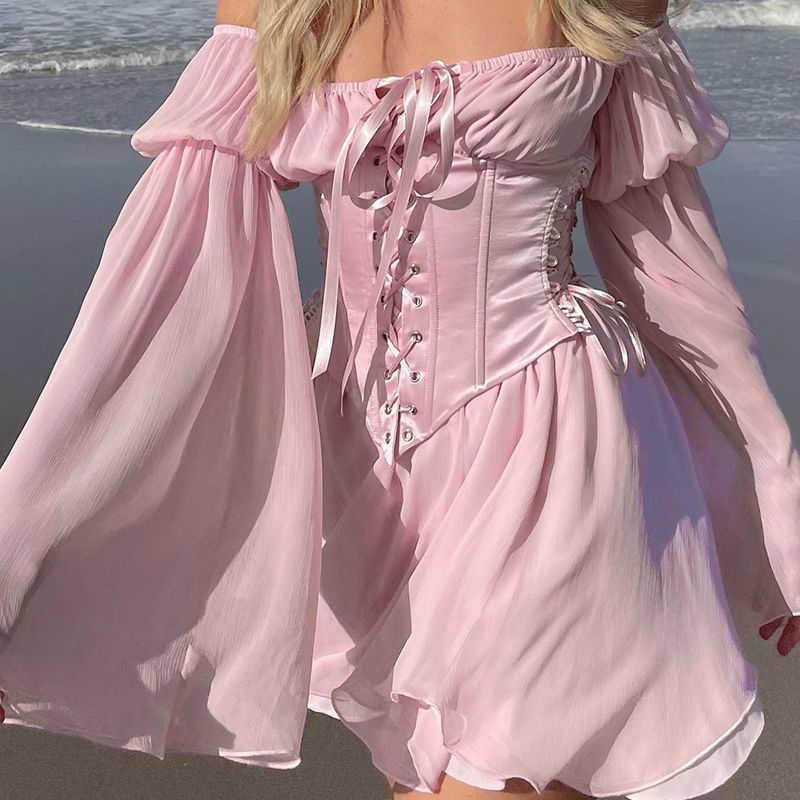 Chiffon um vestido de ombro feminino 2021 novo sexy magro pequeno perfumamento temperamento cintura saia jy21154