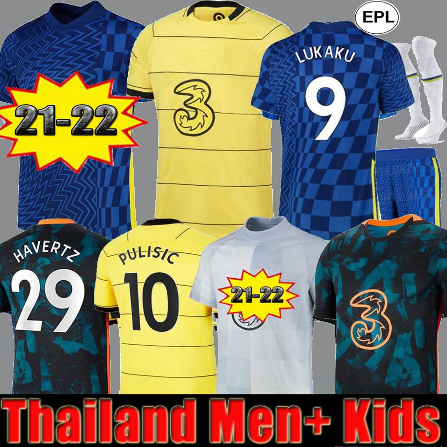CFC لكرة القدم الفانيلة Lukaku Ziyech Pulisic Mount Kante Havertz Werner Abraham Chilwell Giroud Hudson-ODOI 2021 2022 Saul Football Shirt 21 22 Men Kids Kit مجموعات