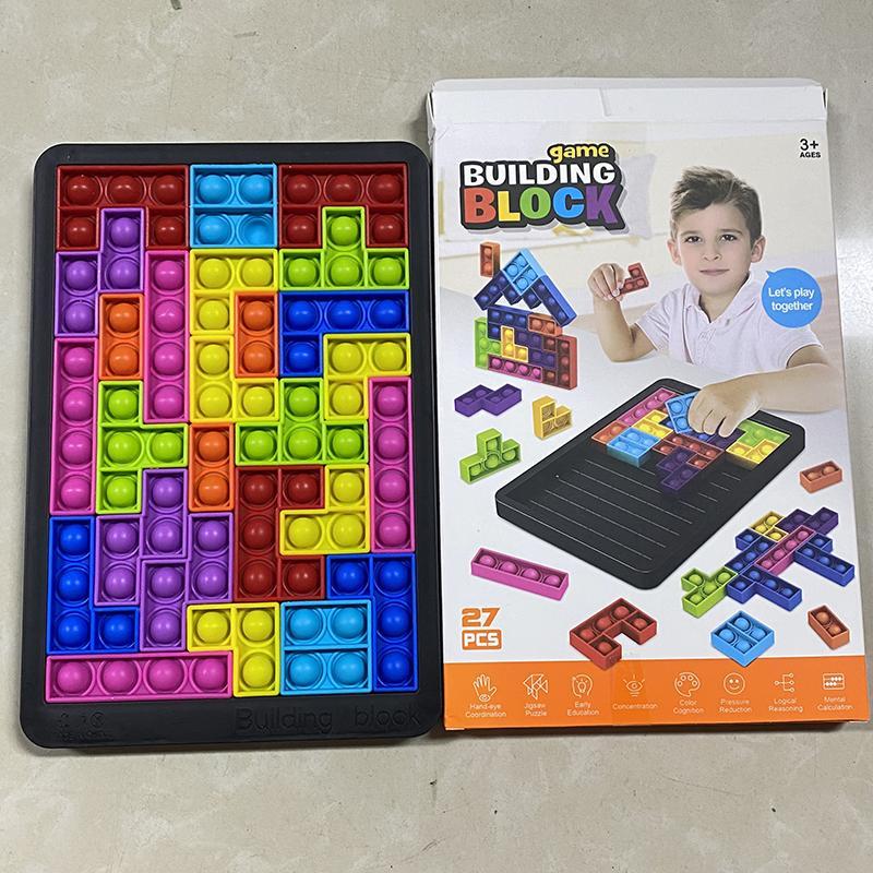 Decompompression Toy Tetris Grand jeu Rainbow Chess Board Poussez Bubble Fidget Sensory Soulagement Soulagement Interactive PartyGame Puzzle Jouets