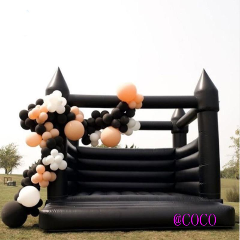 black/ white Inflatable Wedding Bouncer outdoor Bounce House party Jumper moonwalk Bouncy Castle