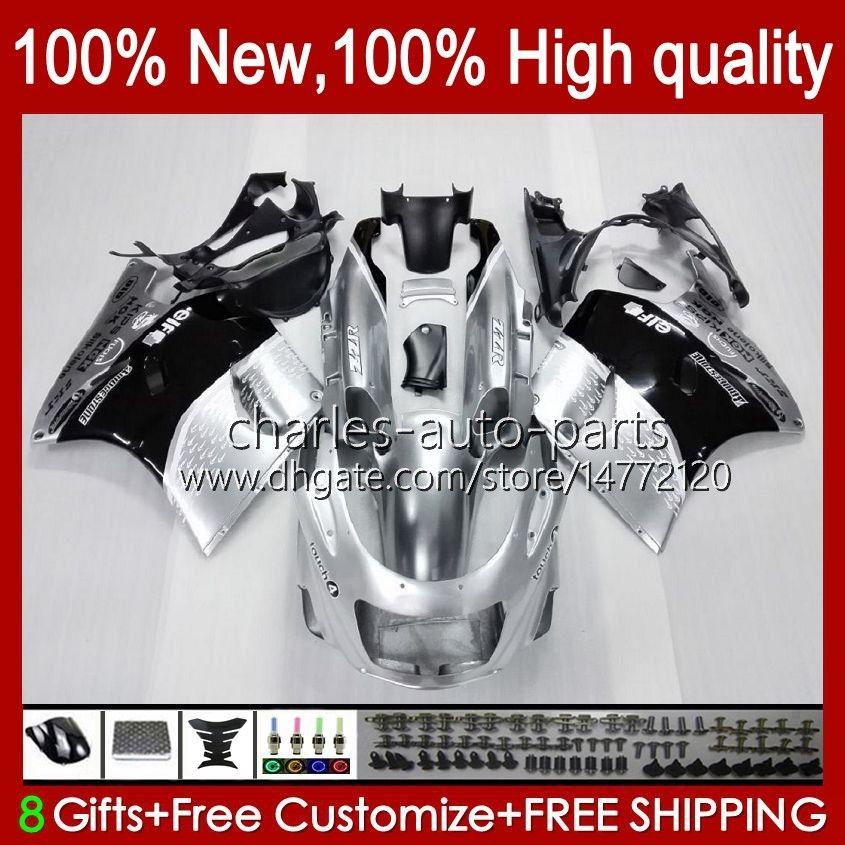 Ciało dla Kawasaki Ninja ZX-11 R ZZR-1100 ZX-11R ZX11R 90 91 92 93 94 95 30HC.4 ZZR 1100 CC Srebrzysta Black ZX 11 R 11R ZX11 R ZZR1100 1996 1997 1998 1999 2000 2001 2001 Zestaw objęty