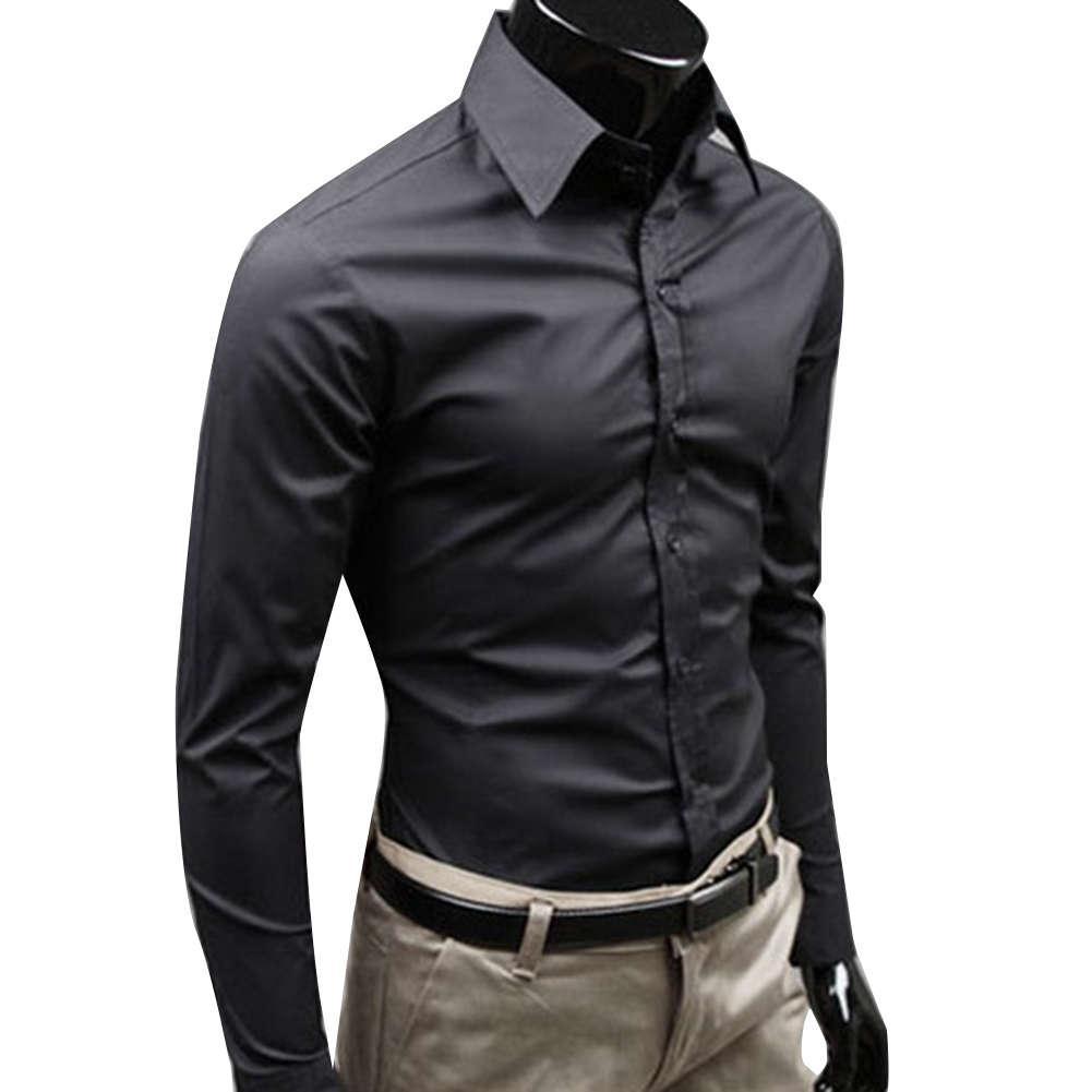 Massivfarbe Langarm Down Slim Cotton Plus Size Shirt Geschäftsleute