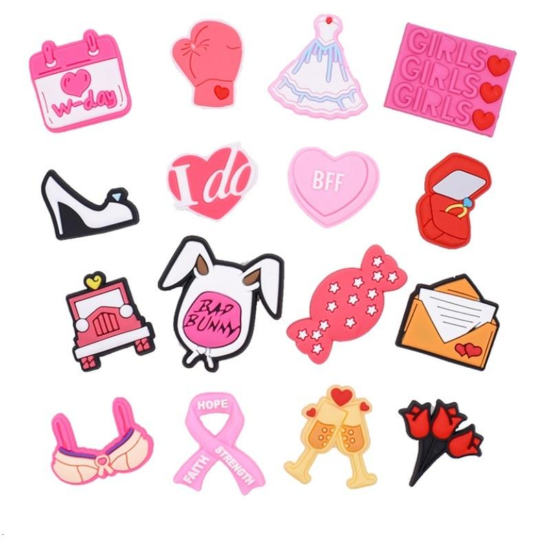 핑크 귀여운 만화 PVC 신발 매력 신발 버클 소년 소녀 맞는 팔찌 Croc Jibz 신발 액세서리 팔찌 키즈 선물