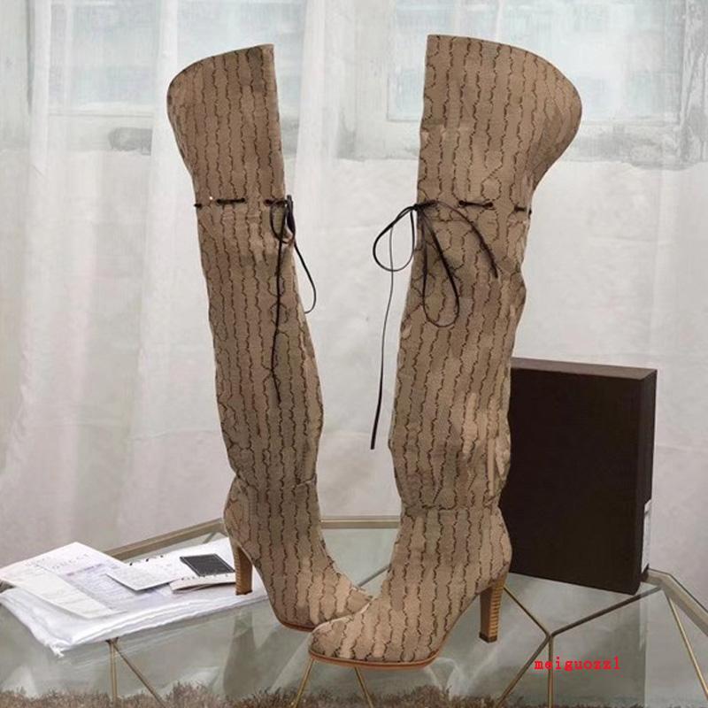 2021 Brand Botas Femininas Designer Genuíno Couro Vermelho Bege Canvas sobre o Zíper do Joelho Botão Laces Casual Sapatos Moda High Heel Mulheres Luxo Sneakers Grande Tamanho 35-42