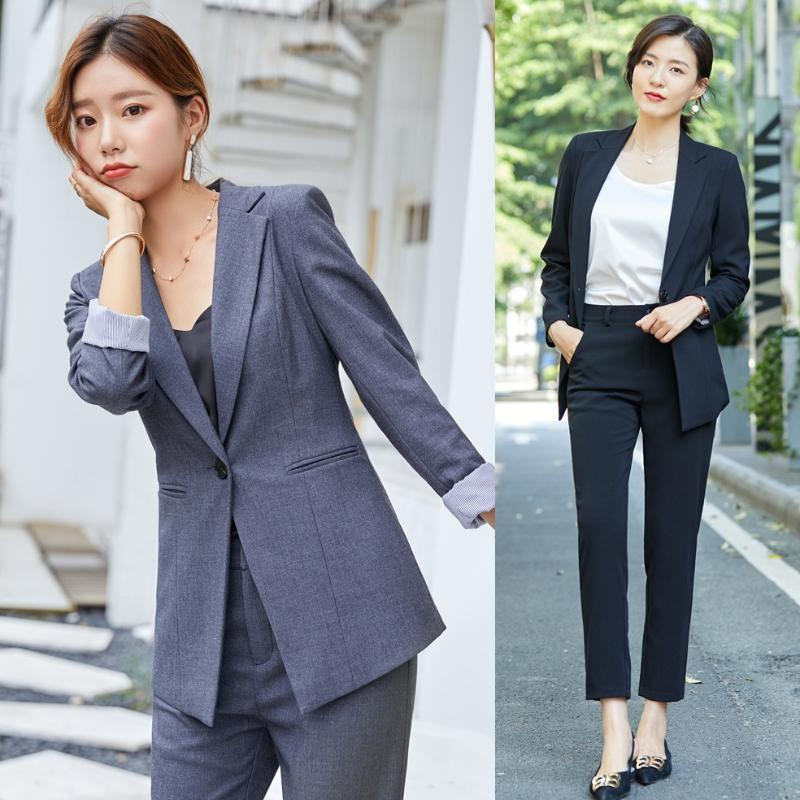 Women's Suits & Blazers Formal Ladies Grey Blazer Women Business With Pant And Jacket Sets Work Wear Office Uniform Styles