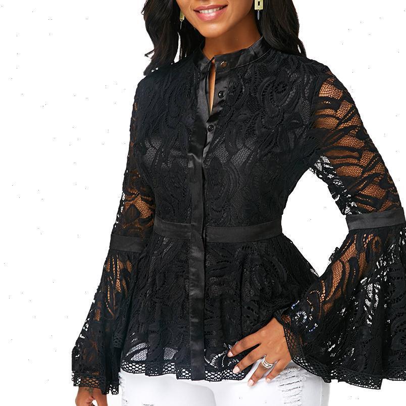 Kadın Gömlek Gömlek Bluzlar Şifon Uzun Flared Kollu Bel Sıkı Dantel Dikiş Bluz Vintage