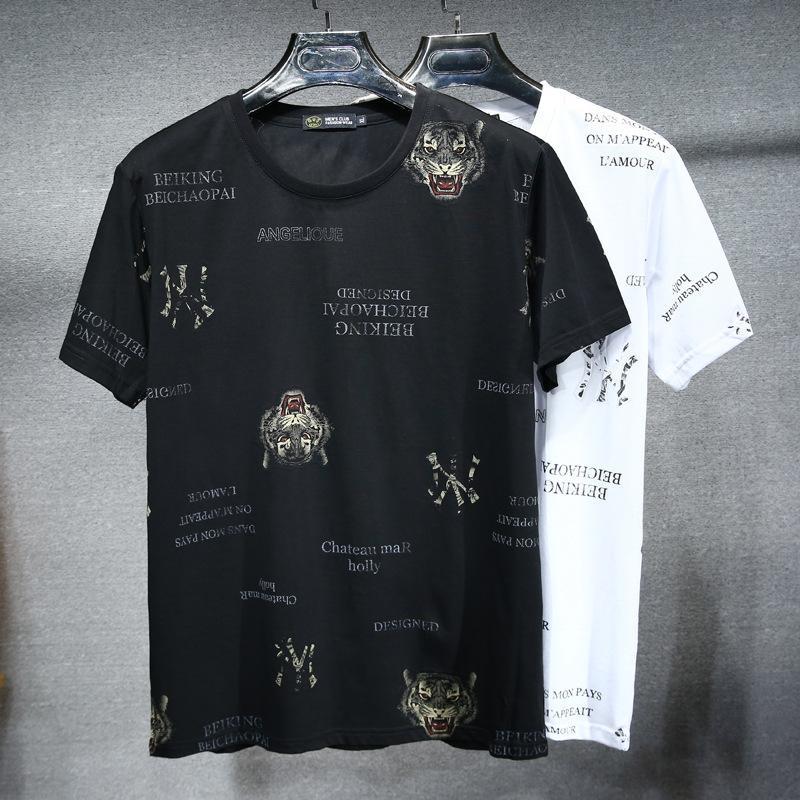 2021 Yeni Kısa Kollu Hayvan Kaplan Başkanı Baskı Şişman Adamın T-shirt erkek Besi Büyük Boy Yuvarlak Boyun T-SNKV4