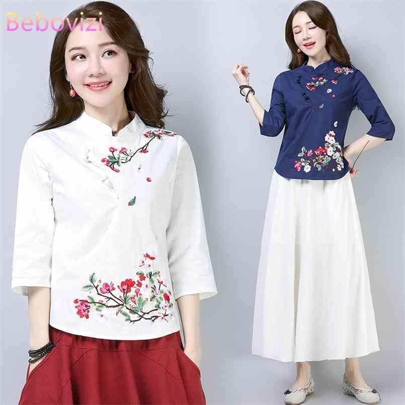 Baumwollwäsche Chinesische Stil QIPAO Hemd Für Frauen Blau Weiß Hanfu Stickerei Retro Sommer Lose Han Fu Traditionelle Bluse Top 210603